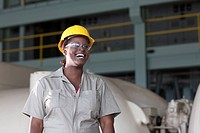 Black worker in hard_hat and protective eyewear