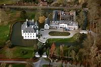 Aerial picture, Gartrop moated castle, Graefte, Huenxe, North Rhine-Westphalia, Germany, Europe