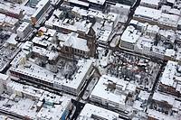 Aerial view, Christmas market, Markt der Wuensche market, Oberhausen, Ruhrgebiet region, North Rhine-Westphalia, Germany, Europe