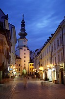 Saint Michaels Tower illuminated at night, Bratislava, Slovakia  Built in the 13th century, it remains the only Gothic gateway remaining along the Old...