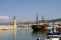 Lighthouse, pirate ship, harbor, Rethymnon, Rethymno, Crete, Greece, Europe