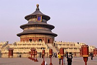 Temple of Heaven, hall of harvest prayers, Imperial road, Beijing, China, Asia