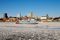 Steamer Louisiana Star with ice floes in the harbor of Hamburg, Germany, Europe