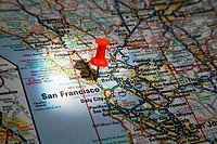 Map Pin pointing to the City of San Francisco, California on a road map