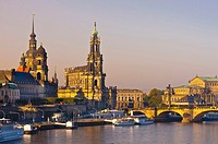 Hofkirche Dresden Cathedral and the Elbe River, Dresden, Saxony, Germany