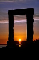 Temple of Apollo just before sunset on the island of Naxos in Greece
