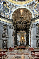 View inside St  Peter´s Basilica in the Vatican with ceiling detail
