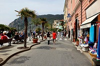 Tourists along a walkway in the village of Monterosso al Mare in the Cinque Terre region of Italy