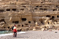 Prehistoric cave dwellings in Matala, Crete, Greece, Europe