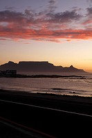 Sunset view of Table Mountain, Cape Town, Western Cape Province, South Africa