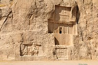 Historic tomb of King Darius, Dareios I. at the Achaemenid burial site Naqsh_e Rostam, Rustam near the archeological site of Persepolis, UNESCO World ...