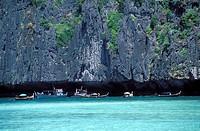 FISHING BOATS, PHI PHI LEH, KO PHI PHI ISLAND, THAILAND.