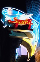 Illuminated Sushi neon sign at night, Los Angeles, California, USA