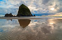 Cannon Beach with storm clouds in Oregon