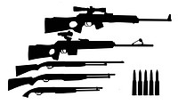 silhouette hunt weapons isolated on white background