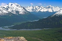 Scenic view of Resurrection Valley as seen from the Harding Ice Field trail in Kenai Fjords National Park, Kenai Peninsula, Southcentral Alaska, Summe...