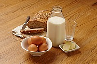 Milk, eggs, butter and bread