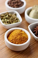 Small bowls of various spices