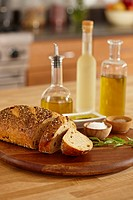 Olive oil and loaf of bread