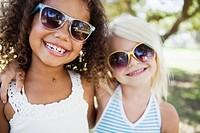 Best friends wearing sunglasses