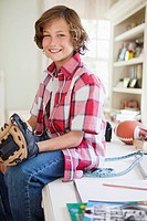 Boy with baseball glove