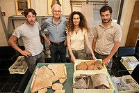 europe, italy, tuscany, vetulonia, archaeological museum, etruscan finds, from left, stefano spiganti, architect luigi rafanelli, archaeologist simona...