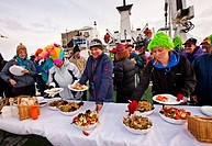 Aurora Expeditions cruise ship passengers enjoy BBQ on stern deck Polar Pioneer, Antarctic Peninsula