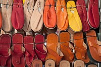 Display of sandles at Rastro market, Madrid, Spain