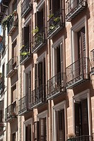 Apartments Facade, Plaza Mayor, Madrid, Spain