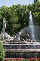 Neptune fountain, Plaza Canovas, Madrid, Spain