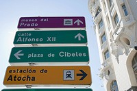 Road sign, Plaza Canovas, Madrid, Spain