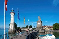 Harbor entrance in Lindau on Lake Constance, Allgau, Bavaria, Germany, Europe