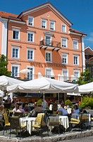 Hotel Reutemann on the waterfront in Lindau, Lake Constance, Bavaria, Germany, Europe