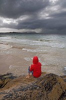 Girl on beach, Morar, Inverness_shire, Scotland, UK