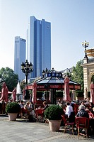 Terrace, Old Opera, Alte Oper, on Opernplatz Square, skyline of the financial district with buildings of Stadtsparkasse and Deutsche Bank in the back,...