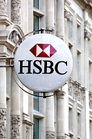 Logo of the HSBC bank in London, England, United Kingdom, Europe