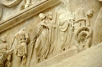 Relief frieze of a sacrificial procession, altar crown, Altar of Augustan Peace, Ara Pacis Augustae, Rome, Lazio, Italy, Europe