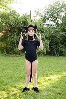 Girl dressed as cat