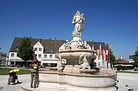 Fountain, Altoetting, Bavaria, Germany, Europe