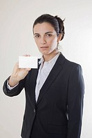 Woman showing her card, symbolic image for an introduction