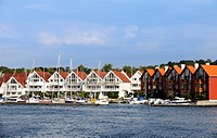White wooden houses at the marina of Stavanger, Norway, Scandinavia, Northern Europe