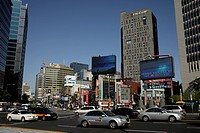 Traffic in downtown Seoul, South Korea, Asia