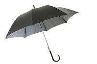 Image of classic elegant black umbrella over white background