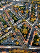 Aerial view, block perimeter development, Ruettenscheid, Essen, Ruhr Area, North Rhine_Westphalia, Germany, Europe