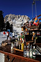 Ski piste at Santa Cristina, Selva, Langkofel mountain, Sella Ronda, Val Gardena, South Tyrol, Italy, Europe