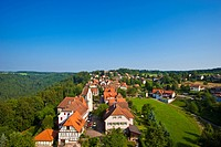 View of Zavelstein from the Burgruine Zavelstein castle ruins, Bad Teinach Zavelstein, Black Forest, Baden_Wuerttemberg, Germany, Europe