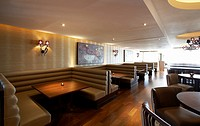Interior of Tides bar and restaurant at St Davids hotel situated in Cardiff bay, south Wales