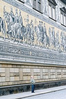 Mural Fuerstenzug, the Princes' Procession on the facade of the Langer Gang belonging to the Stallhof mews at the Augustusstrasse in Dresden, Saxony, ...