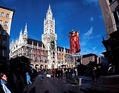 Neogothic Townhall of Munich and Marienplatz