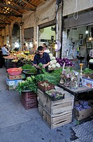 Fresh vegetables, shop in the covered bazar of Zanjan, Iran, Persia, Asia